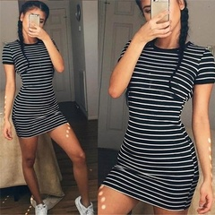 Short Sleeved Striped Dress For Lady black m