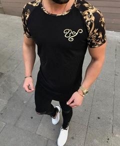 Men's Fashion Sport Matching Short Sleeved T-shirt black m