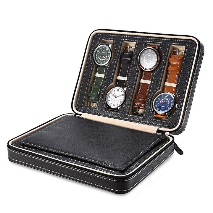 8 Grids Pu Leather Travel Watch Storage Case Zipper Wristwatch Box Organizer