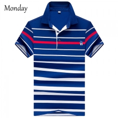MONDAY Men's Short Sleeved T-shirt POLO Shirt Fashion Casual Stripes Classical Men's Wear 01 L