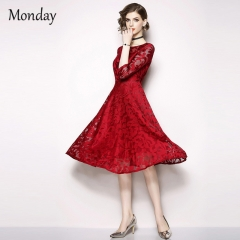 MONDAY Women Classical Lace Skirt Crochet Hollow-out Lace Summer Dress A-line Silhouette Party Dress Red X