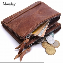 MONDAY Mens Genuine Leather Wallets Short Style Quality Purse for Business Men Vintage Wallet Brown 12*9.5*3cm