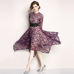 MONDAY Medium Long Lace Dress O Collar Skirt Slim Floral Hollow-out Skirts for Lady Summer Clothes Purple red xxxl