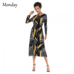 MONDAY Women's Floral Skirt Lady Long Dress Long-sleeved Skirts Patterned Skirts with Girdle Dress 01 XL