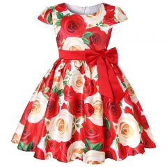 Monday Girl Floral Printed Dress Princess Dress Kids Rose Print Dress Birthday Party Dress Red 3