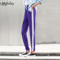 MONDAY Drawstring Casual Trousers Women White Bar Stripe Ankle Pants with Side Pockets for Ladies black S