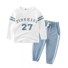 MONDAY 2 Pcs Boy's Sports Suit Set Kids Clothing Set Longs Sleeves T-shirt and Drawstring Trousers blue 120