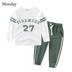MONDAY 2 Pcs Boy's Sports Suit Set Kids Clothing Set Longs Sleeves T-shirt and Drawstring Trousers green 90