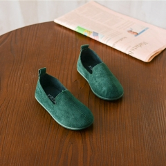 MONDAY Soft Girls Shoes Casual Flats Footwear Children Solid Color Flats Doug Shoes green inside length 15.5cm