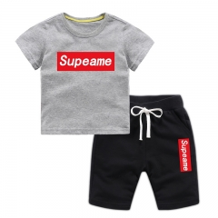 MONDAY Boys' 2 Pieces Short Set Supeame Playwear for Kids Short Sleeve Tee Shirt and Shotrs grey shirt + black shorts 130