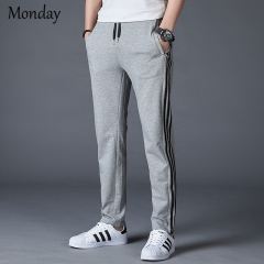 MONDAY Sports Straight Trousers for Boy Casual Pants with Side Stripes for Men Drawstring Long Pants grey M