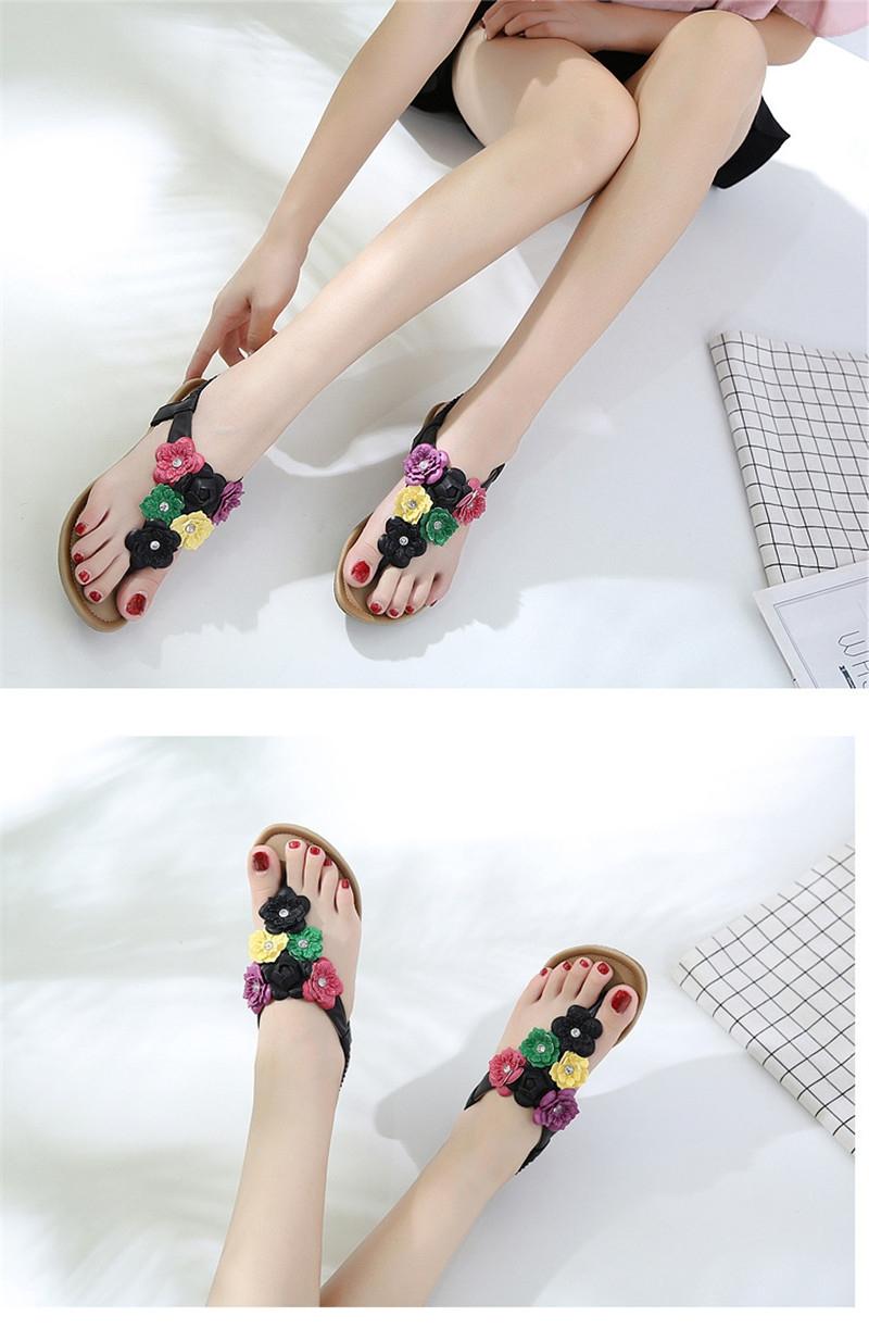 a25c3dd2784 MONDAY Women s Bohemia Flat Sandals Summer Beach Flower Beads ...