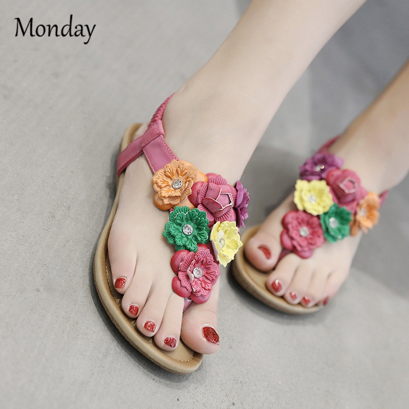 66c7d99436c8 MONDAY Women s Bohemia Flat Sandals Summer Beach Flower Beads Elastic T-Strap  Flip-Flop Thong Shoes pink 35  Product No  607565. Item specifics  Brand