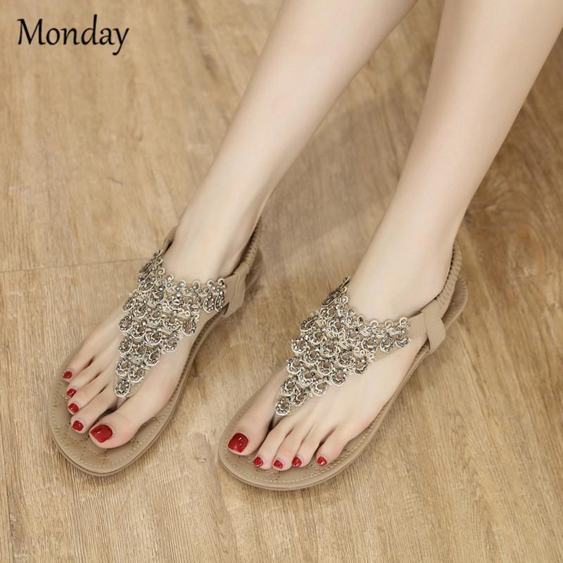 b0a1f370bbd43 MONDAY Women s Rhinestone Flat Sandals Glitter Shoes Bohemian Summer Beach  Flip-Flops Thong Sandals beige 35  Product No  608165. Item specifics   Brand