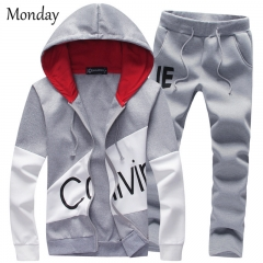 MONDAY Men's Casual Tracksuit Long Sleeve Thin Clothing Set Running Jogging Athletic Sports Set grey M