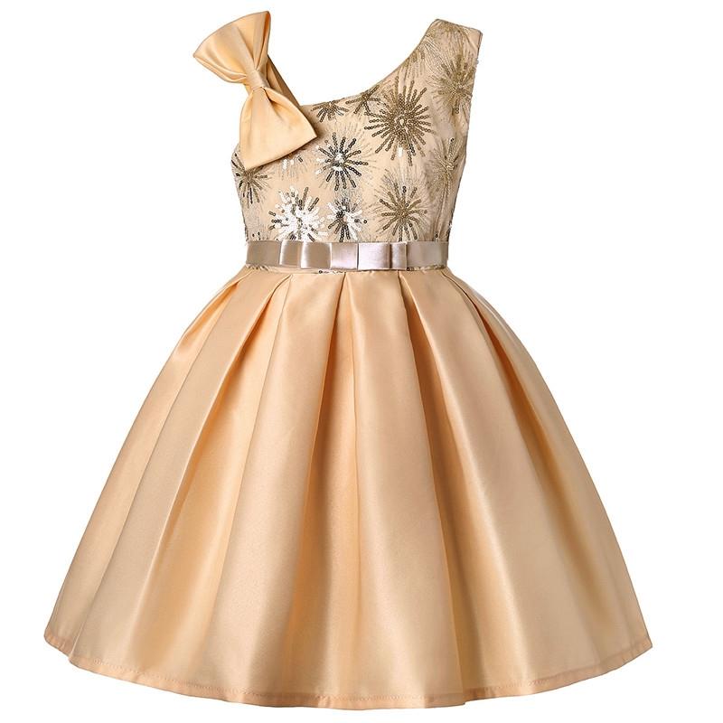 125939fb568a9 MONDAY Kids Girls Party Wedding Dress Party Skirt Sleeveless Pailette  Bodice Skirt Princess Dress beige 8