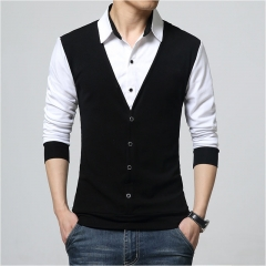 MONDAY Mens Casual Slim Shirt Long Sleeve Layered Vest T-shirt False Two Pieces T-shirt Tees for Men black XL