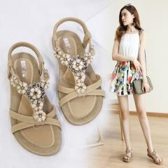 MONDAY Womens Summer Sandals Flip Flops Beach Shoes Flat Bohemian Rhinestone Sandals for Ladies beige 39