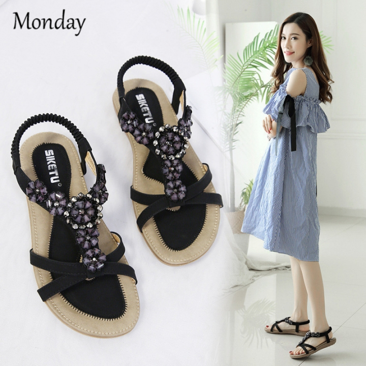 d3659ea52 MONDAY Womens Summer Sandals Flip Flops Beach Shoes Flat Bohemian  Rhinestone Sandals for Ladies black 35