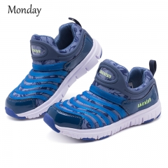 MONDAY Kids Sports Shoes Fashion Sneakers Lightweight Walking Shoes Casual Shoes for Boys Girls blue grey 26