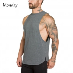 MONDAY Men's Fitted Muscle Cut Workout Tank Tops Gym Bodybuilding T-Shirts grey M