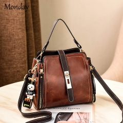 MONDAY Vintage PU Leather Shoulder Bags Retro Handbags Lady Hobo Women Top Handle Small Bag brown 22*12*20cm