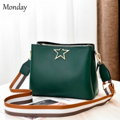 MONDAY Women's Fashion PU Leather Shoulder Bags Ladies Handbags with Wide Straps green 24*11*21cm