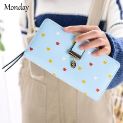 MONDAY Womens PU Leather Wallet Name Card Holder Wallet Leather Cards Case with Buckle Perfect Gift blue 19*9.5*3cm