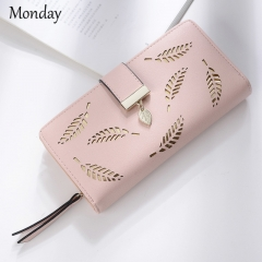MONDAY Women's Handbags Long Clutch Purse Leather Wallets Hollowed-out Leaf Design pink 19*10*3cm
