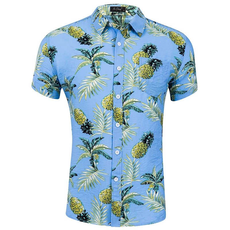 dc4718449b21 MONDAY Short Sleeve Hawaiian Shirt Men Summer Casual Floral Shirts ...