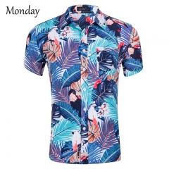 MONDAY Short Sleeve Hawaiian Shirt Men Summer Casual Floral Shirts Colorful Floral Printing Dress Blue floral S