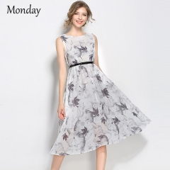 MONDAY Women's Summer Dresses Sleeveless Floral Print Chiffon Skirt with Belt Long Dress for Ladies one color s