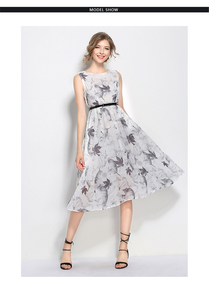 Monday Women S Summer Dresses Sleeveless Floral Print Chiffon Skirt With Belt Long Dress For Ladies One Color S