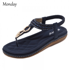 MONDAY T-strap Bohemia Sandals for Women Girls Summer Flats with Beads Over Size Womens Shoes dark blue 35