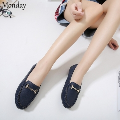 MONDAY Womens Slip-on Flats Casual Shoes Leather Loafers Round Toe Moccasins Wild Driving Shoes dark blue 35