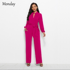 MONDAY Women's Elegant Jumpsuit Wrap Top High Waisted Wide Leg Pants Jumpsuits Romper with Belt purple red s