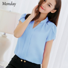 MONDAY 2019 Hot-selling Chiffon Short Sleeve Blouse for Women V Neck Top Shirts blue s
