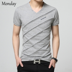 MONDAY Men's V-neck T-shirt with Diagonal stripes Cotton Top for Boys Students grey m