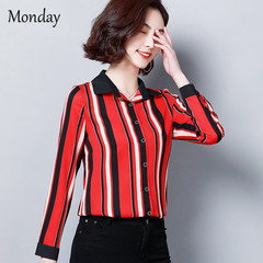 MONDAY Women Striped Button Blouse Casual Long Sleeve Blouses Shirts Office Lady Loose Shirt Tops red m