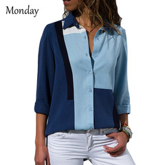 MONDAY Women Blouses 2019 Fashion Long Sleeve Turn Down Collar Office Shirt Blouse Shirt Casual Tops blue s