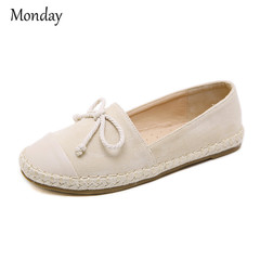 MONDAY Women's Light Espadrille Flats Slip-on Loafers Shoes for Women Casual Fashion Sneaker beige 35