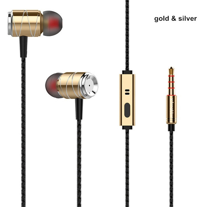 MONDAY Headphones Earphones Headset Bass Driven Sound Gold Plated 3.5mm Plug gold & silver