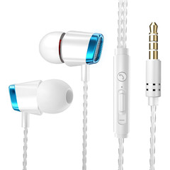 MONDAY Earphone Wired Stereo Heave Bass with Micphone Volume Control In-ear for Huawei MP3 Players blue