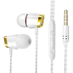 MONDAY Earphone Wired Stereo Heave Bass with Micphone Volume Control In-ear for Huawei MP3 Players gold