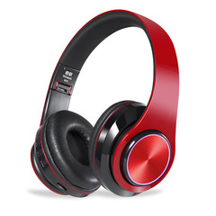 MONDAY Wireless and Wired Headset Bluetooth Earphones Support Memory Card MP3 Player red black
