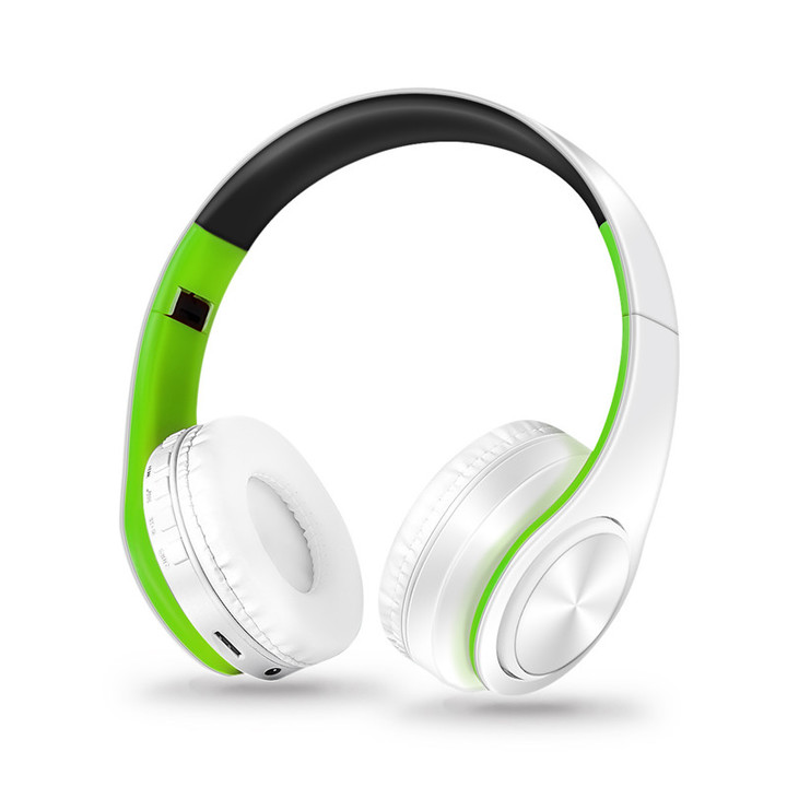 MONDAY Bluetooth Headset Wireless Earphones with Microphone Active Noise Cancelling white green