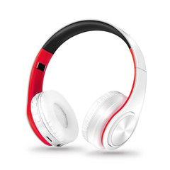 MONDAY Bluetooth Headset Wireless Earphones with Microphone Active Noise Cancelling white red
