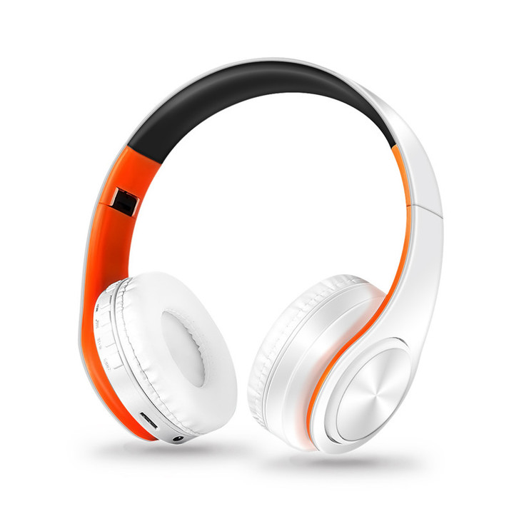 MONDAY Bluetooth Headset Wireless Earphones with Microphone Active Noise Cancelling white orange