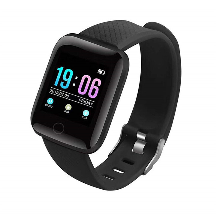 MONDAY 116 Plus Smartwatch Touch Screen Wrist Watch Sports Fitness Tracker with Camera black