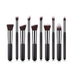 10Pcs Makeup Brushes Set Powder Foundation Blush Blending Eye Shadow Cosmetic Brush Kit 10pcs/set black silver